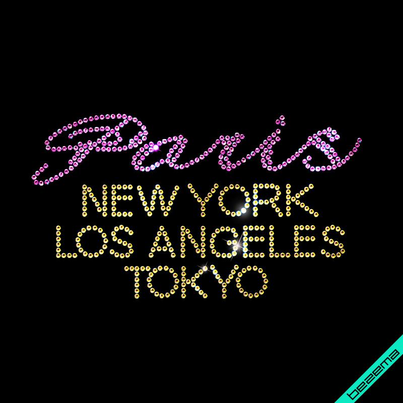 Картинки на варежки и перчатки Paris New York Los Angeles Tokyo (Стекло,2мм-роз.,2мм-зол.)