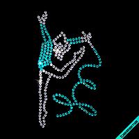 Аплпикации, латки на пиджаки Гимнастка с лентой (Стекло,2мм-бел.,2мм-ярк.гол.)