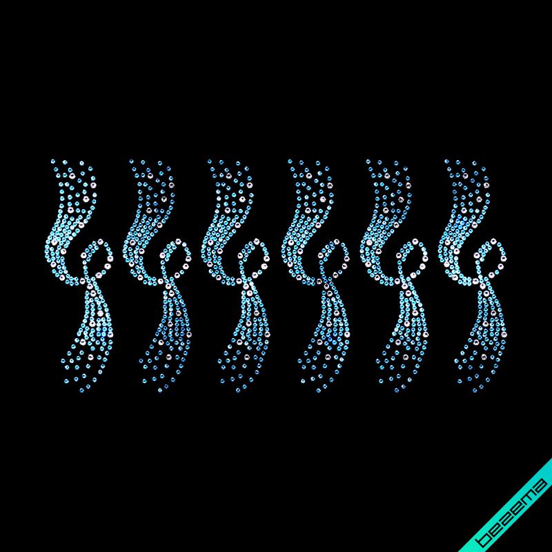 Термонаклейки на Орнамент вишиванки (Скло,2мм-аквамари.,4мм-біл.)