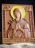 """Икона деревянная """"Богородица Семистрельная"""" 18 х 22 см"""