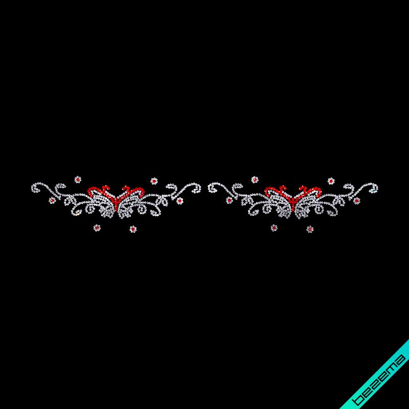 Малюнки на сатин Орнамент метелики (Скло,2мм-біл.,3мм-черв.)