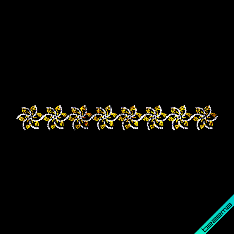 Термотрансферы на бязь Цветочный орнамент (Стекло,2мм-дымч.зол.,3мм-бел.)