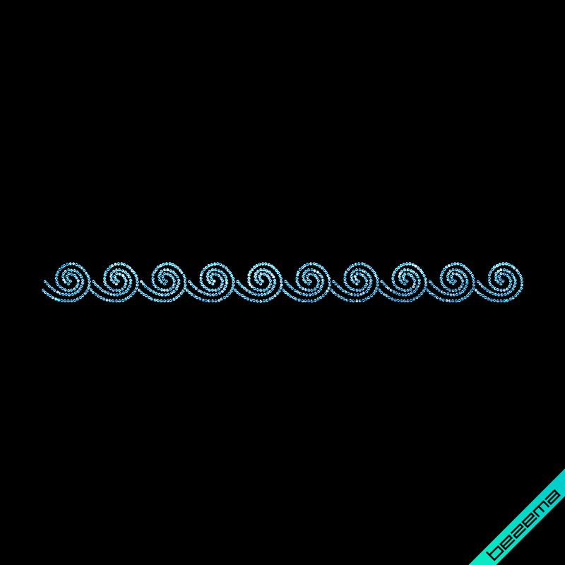 Аппликации на леггинсы Орнамент волны (Стекло,2мм-аквамар.)