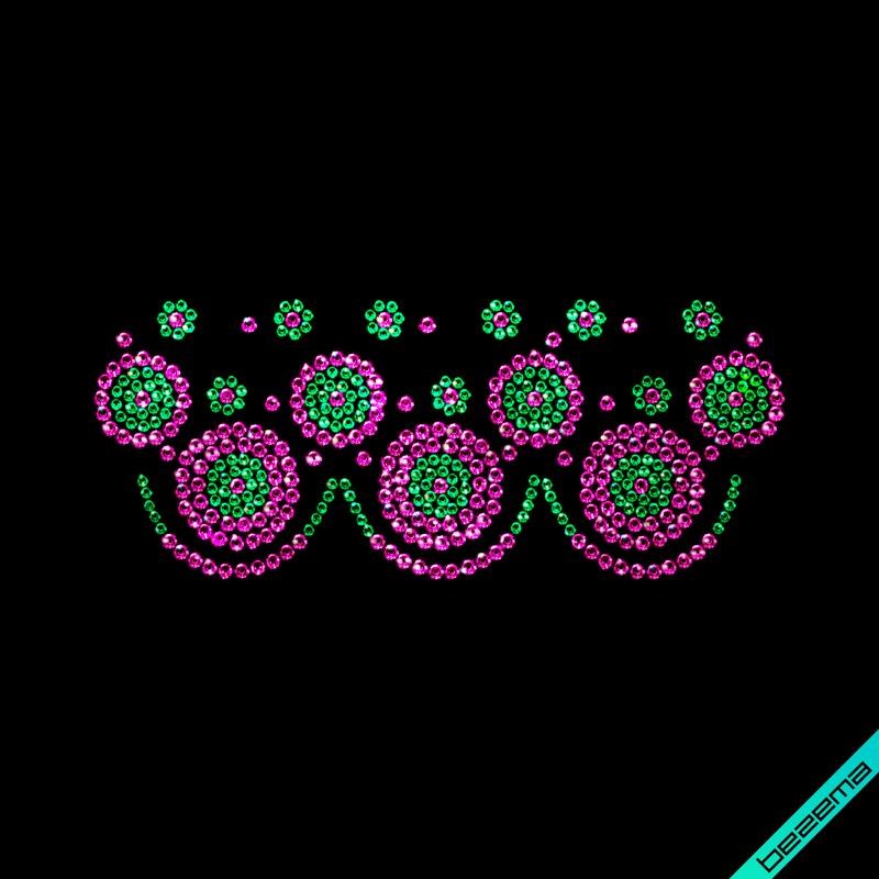 Термотрансферы на леггинсы Орнамент (Стекло,2мм-изумр.,3мм-св.роз.)