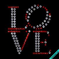 Стразы, аналог пайетки на кашемир Love (Стекло,4мм-красн.,6.5мм-бел)