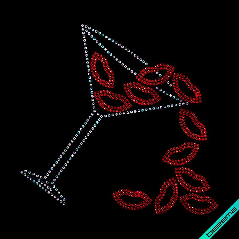 Термоаппликации зі страз на кофти Келих з губами (Скло,2мм-червон.,3мм-бенз)