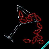 Термоаппликации из страз на кофты Бокал с губами (Стекло,2мм-красн.,3мм-бенз)
