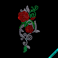 Термонаклейки из страз на кепки Розы (Стекло,2мм-красн.,2мм-бел,2мм-изумр.)