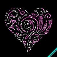 Стразы, аналог пайетки на платья Сердце (Стекло,2мм-гем.,3мм-роз.)