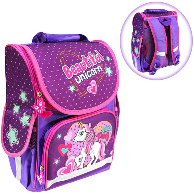 Ранец (рюкзак) - короб ортопедический  для девочки - Пони (Литл Пони), размер 34,5*25,5*13см Smile 988378