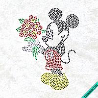 Рисунки на тканину Міккі з квітами (Скло, ss6-черн,ss6-черв,ss6-крістал,ss6-жовтий,ss6-зел)