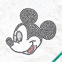 Рисунки на ткань Улыбка Микки (Стекло, ss6-черный,ss6-красный,ss6-кристал)