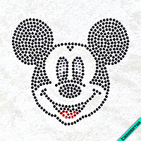 Рисунки на ткань Микки анфас (Стекло, 2мм-белый, 2мм-черный, 2мм-красный)