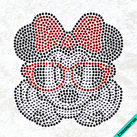 Рисунки на тканину Здивована Мінні (Скло, ss6-крістал,ss6-чорний,ss6-червоний)