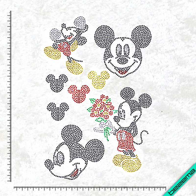 Рисунки на ткань Микки набор (Стекло, 2мм-черн, 2мм-кристалл, 2мм-красн, 2мм-жел, 2мм-зел)