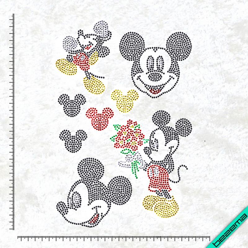 Рисунки на тканину Міккі набір (Скло, ss6-черн,ss6-кристал,ss6-черв,ss6-жел,ss6-зел)