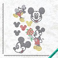 Рисунки на ткань Микки набор (Стекло, 2мм-черн, 2мм-кристалл, 2мм-красн, 2мм-жел, 2мм-зел), фото 1