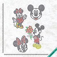 Рисунки на ткань Микки и Минни набор (Стекло, 2мм-черн, 2мм-кристалл, 2мм-красн, 2мм-жел, 2мм-зел)