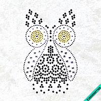 Рисунки на ткань Сова (Стекло, ss6-кристалл,ss6-золото,ss10-черный,ss16-кристалл)