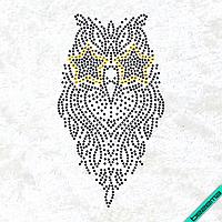 Рисунки на тканину Сова (Скло, ss6-чорний,ss10-золото)