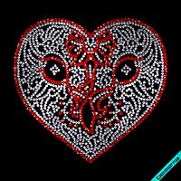 Рисунки на ткань Сердце (Стекло, 2мм-кристалл, 2.8мм-красн)