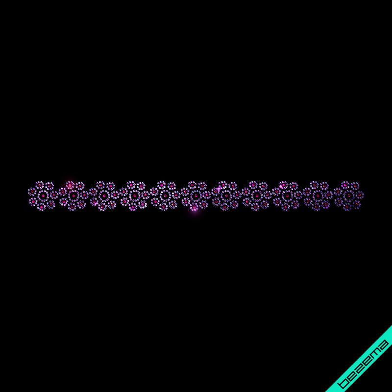 Наклейки из страз на толстовки Цветочный орнамент (Стекло,2мм-бенз.св.фиол.,3мм-роз.)