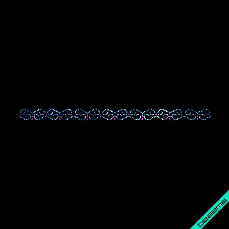 Термонаклейки на пляжные туники Орнамент (Стекло,2мм-св.син.,3мм-роз.)