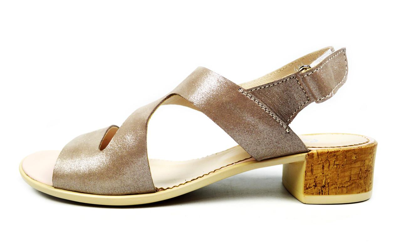 Женские кожаные босоножки LEONY на устойчивом каблуке