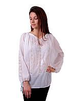 Жіноча вишита сорочка/блузка марльовка з білим орнаментом, фото 1