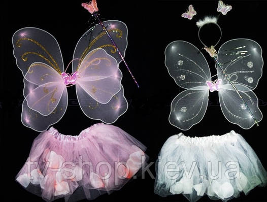 Набор Феи роз с крыльями  4 в 1 (белый,розовый)