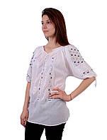 Жіноча вишита сорочка/блузка марльовка з голубим орнаментом на короткий рукав, фото 1