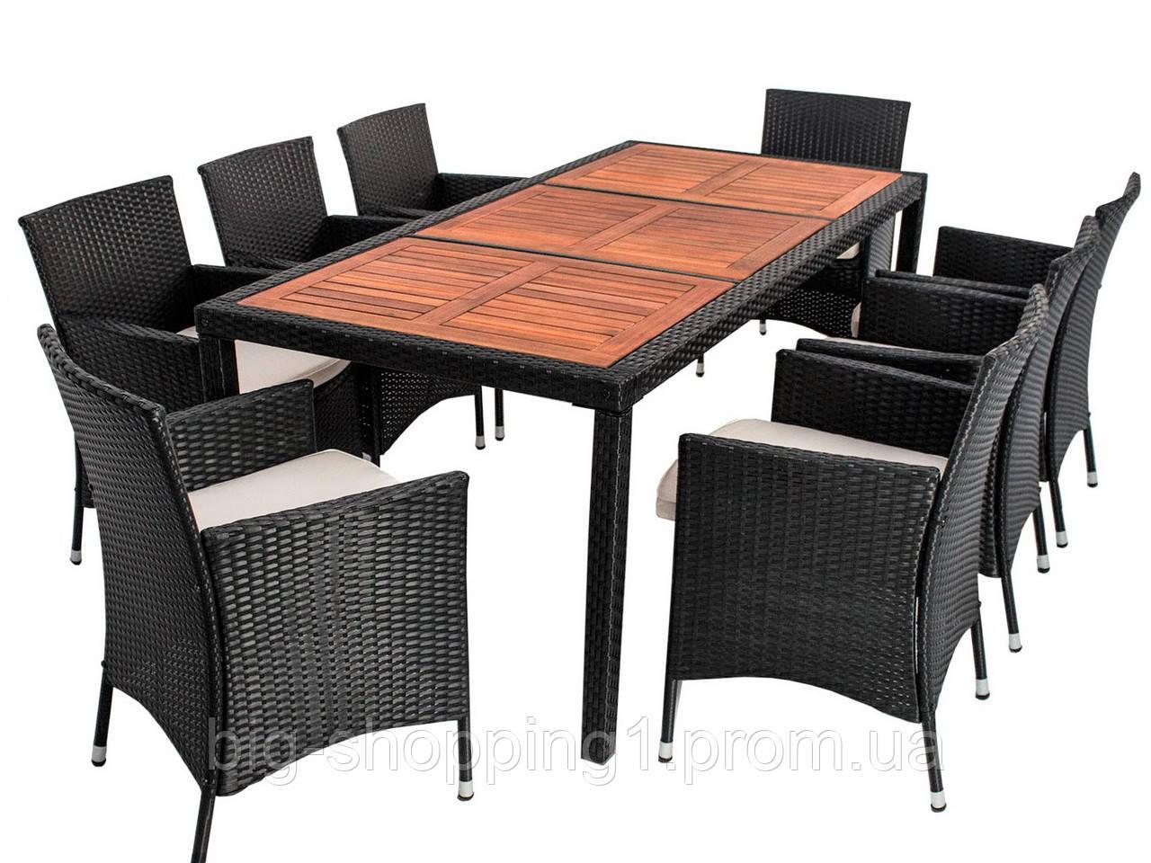 Мебель садовая : стол (стекло или дерево)+8 крісел