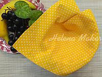 Хлопок для рукоделия Желтый в белый горошек 2 мм   20*25 см