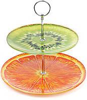 """Стеклянная фуршетная стойка """"Glass Rainbow"""" 2 ярких блюда Ø25см и Ø18см"""