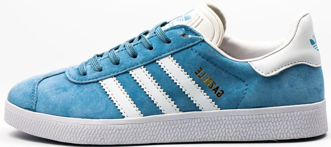Женские кроссовки adidas Gazelle (Адидас Газели) голубые