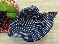 Хлопок для рукоделия Синий в белый горошек 6 мм   20*25 см