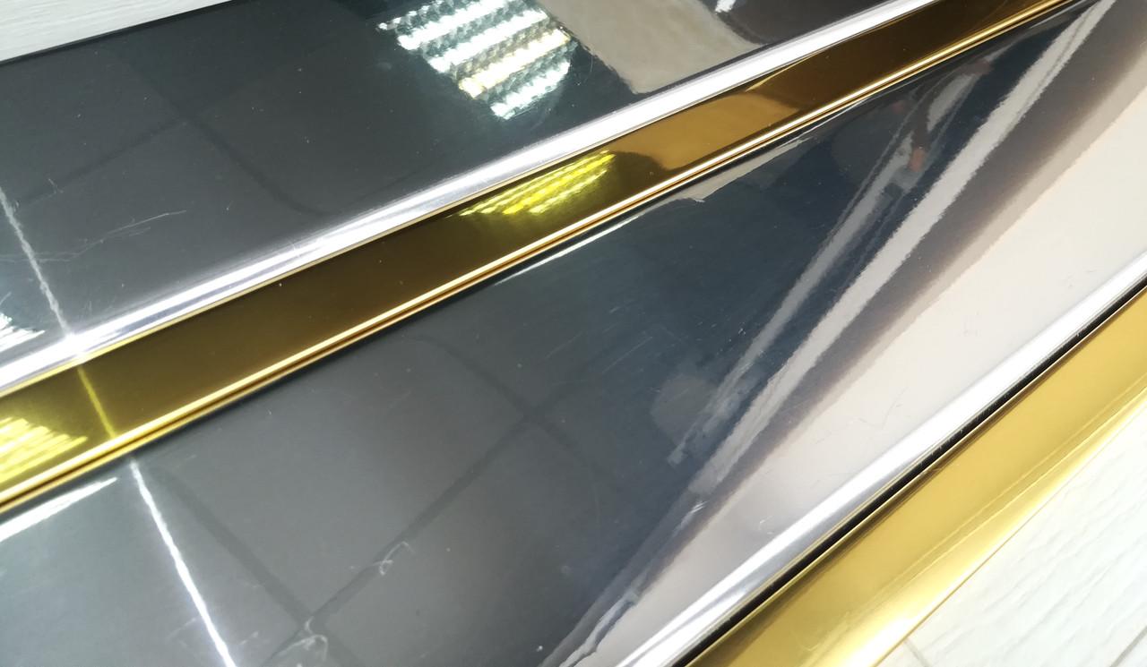 Реечный потолок суперхром вставка суперзолото, комплект