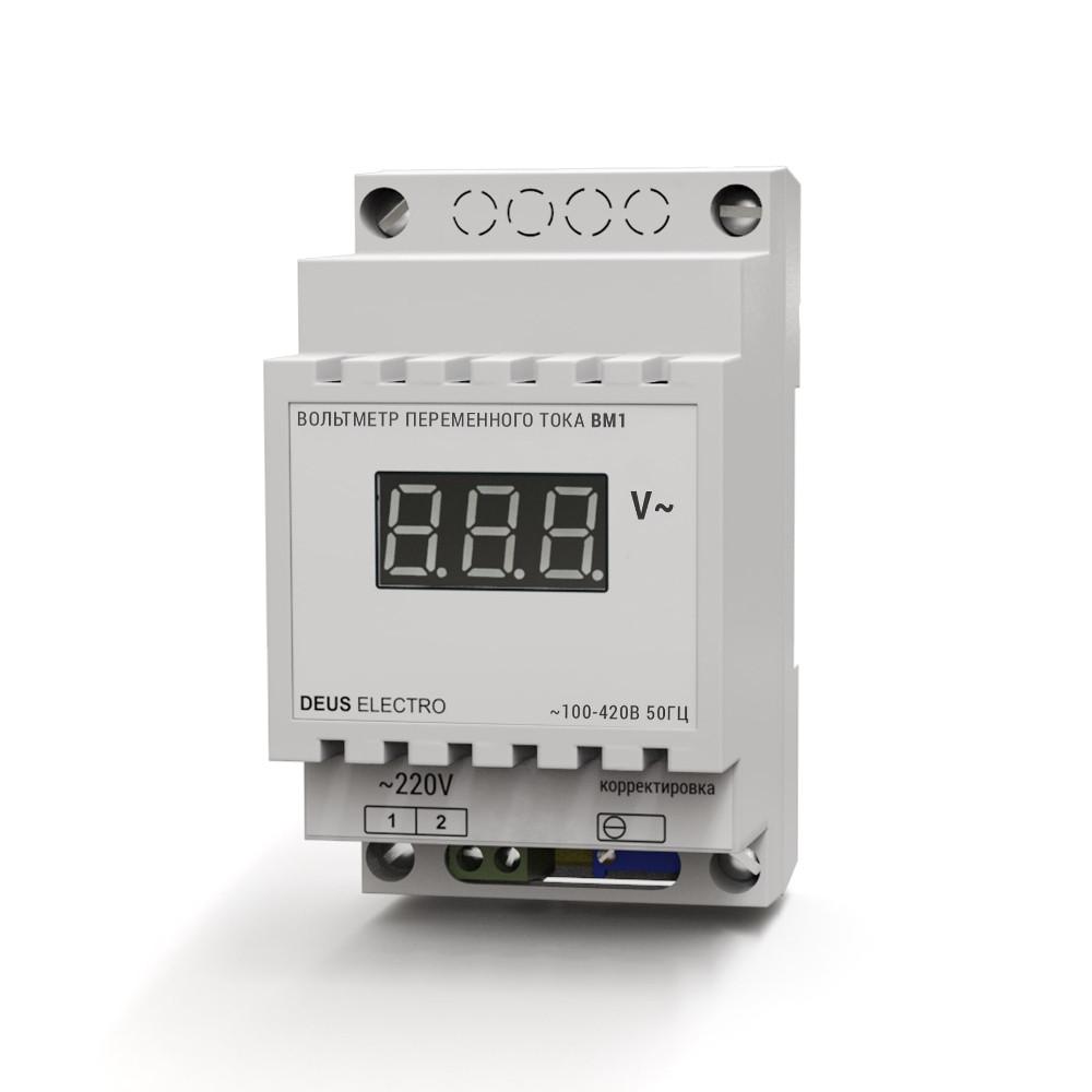 Вольтметр однофазный переменного тока цифровой на DIN-рейку ВМ1 (100-420В)