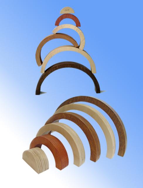 """Пирамидка """"Радуга"""" оттенки дерева"""