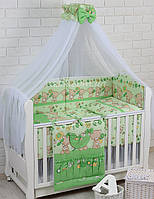 """Детская постель ТМ """"Asik"""" (8 ед.) """"Мишка с цветочком"""" салатового цвета №172."""