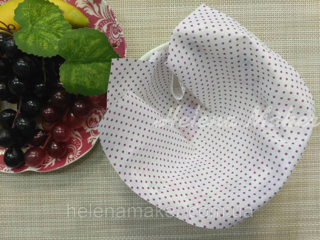 Хлопок для рукоделия Белый в фиолетовый горошек 1 мм   20*25 см