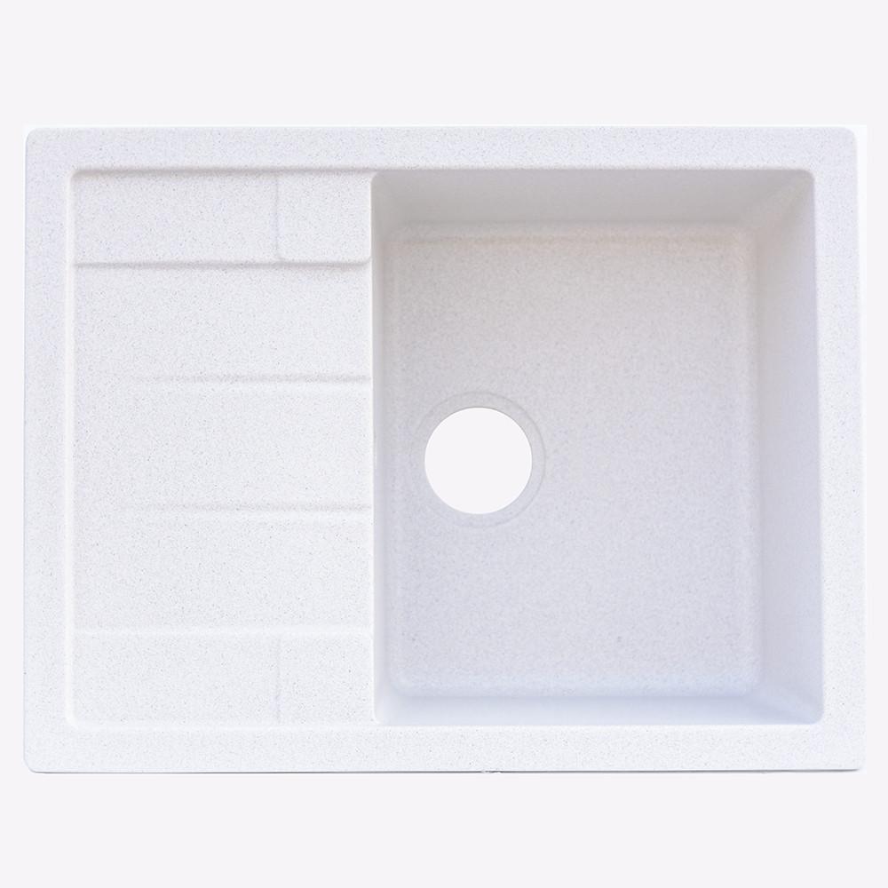 Гранитная мойка Platinum 6550 INTENSO глянец белая с точкой