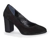 Туфли женские рр. 33-43 каблук 8 см натуральная замша цвет черный размер 33 00ec1873e5863