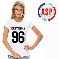 Печать на футболках именная футболка с фамилией именем номером женская мужская