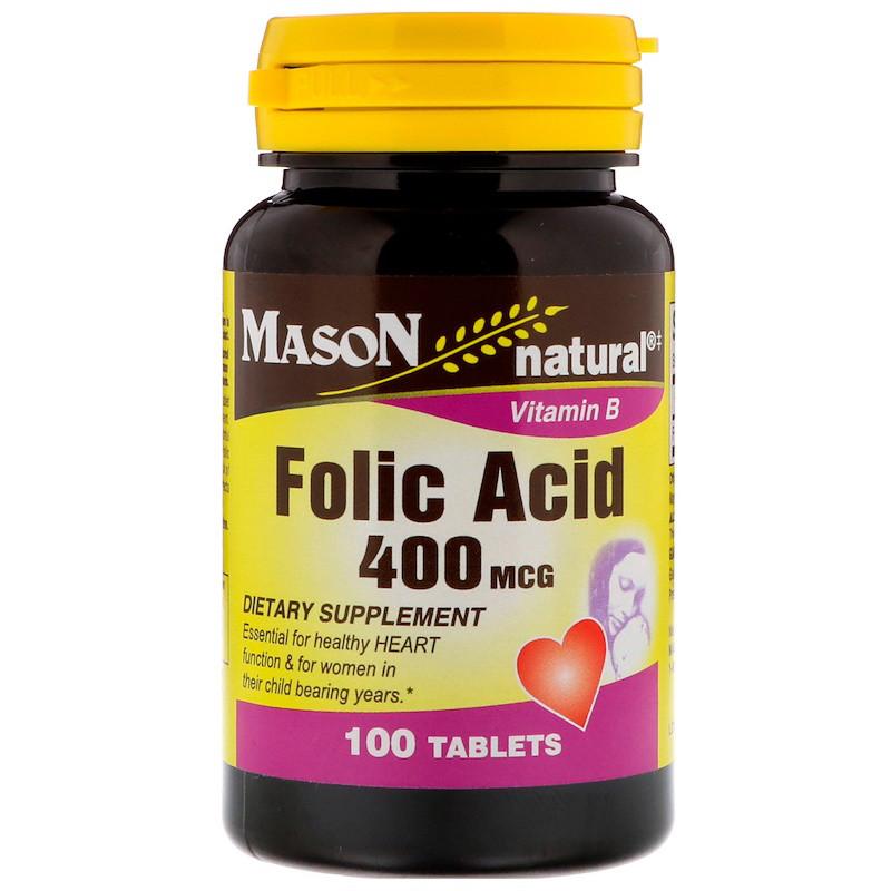Mason Natural, Фолиевая кислота, 400 мкг, 100 таблеток