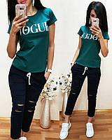 Костюм стильный с футболкой, зеленый+синий, фото 1