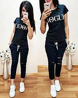 Костюм стильный с футболкой, черный+синий, фото 1