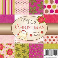 Набор бумаги для скрапбукинга Wild Rose Studio - Milton Christmas , 15х15 , PP008