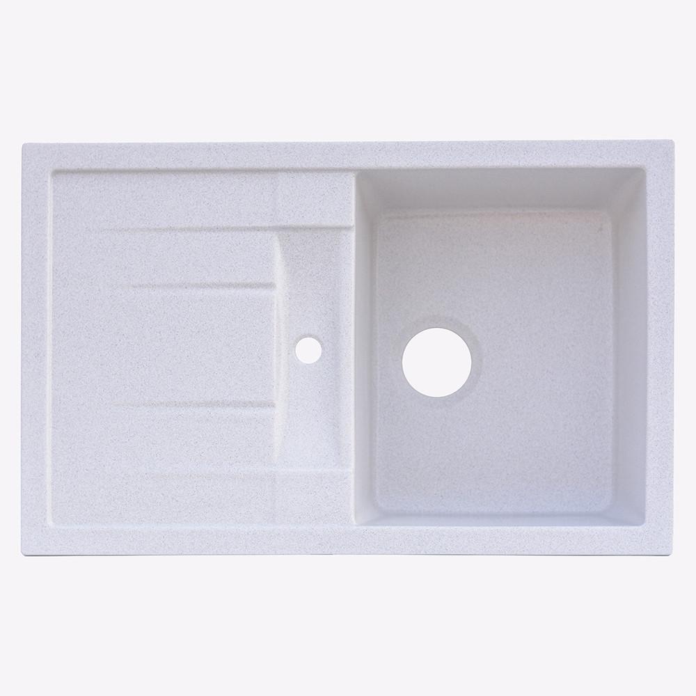 Гранитная мойка Platinum 7850 PRETSO глянец белая с точкой