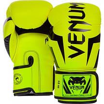 Боксерские перчатки Venum Elite Boxing Gloves Neo Yellow, фото 3
